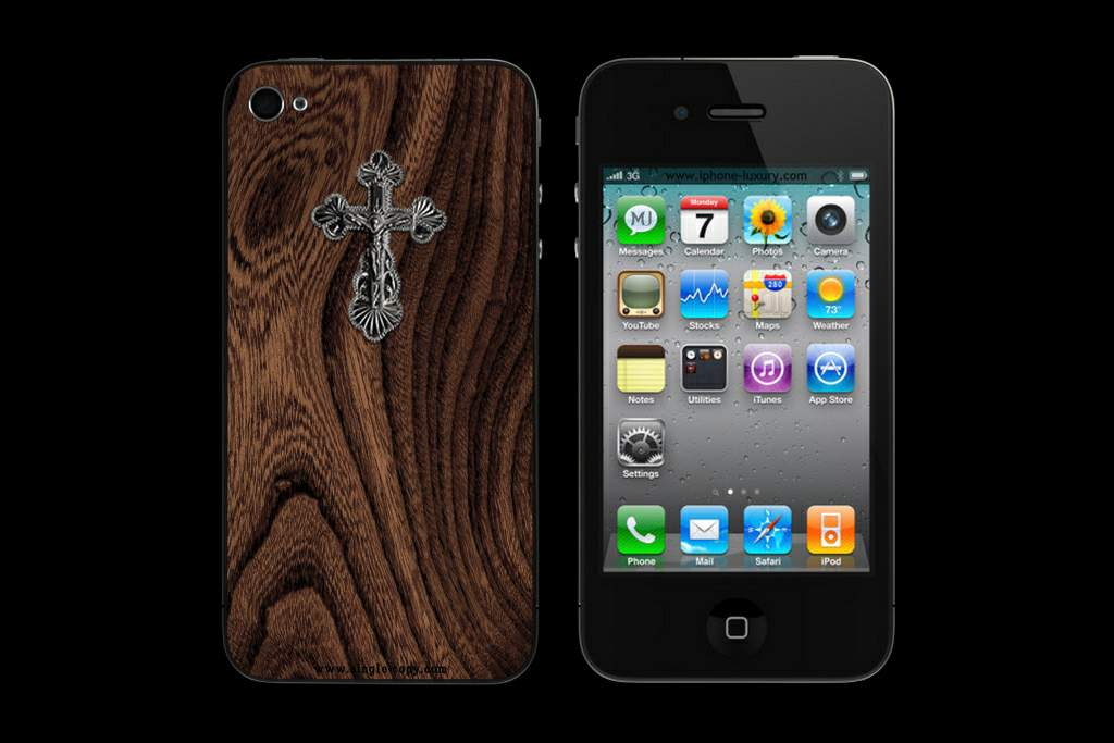 APPLE IPHONE 4S SILVER CROSS WOOD MJ EDITION