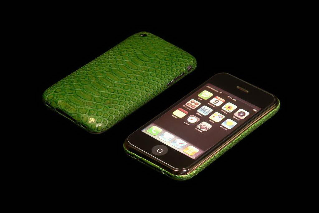 MJ Apple iPhone Gold VIP Leather Duo - Anaconda Green Skin