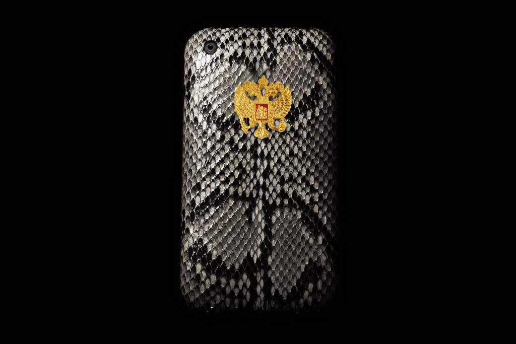 Apple iPhone Exotic Leather MJ Handcrafted - Python Original Brown Grey incrusted Gold Diamond Apple