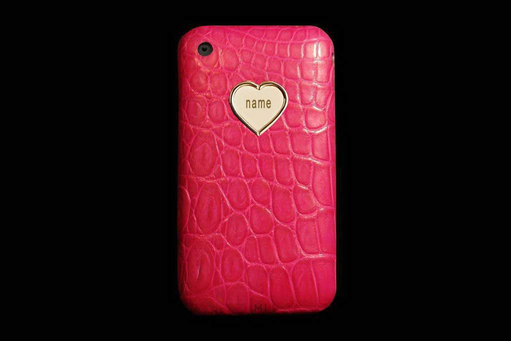 Apple iPhone Genuine Leather MJ Edition - Alligator Crocodile Pink with Solid Gold 999 Apple