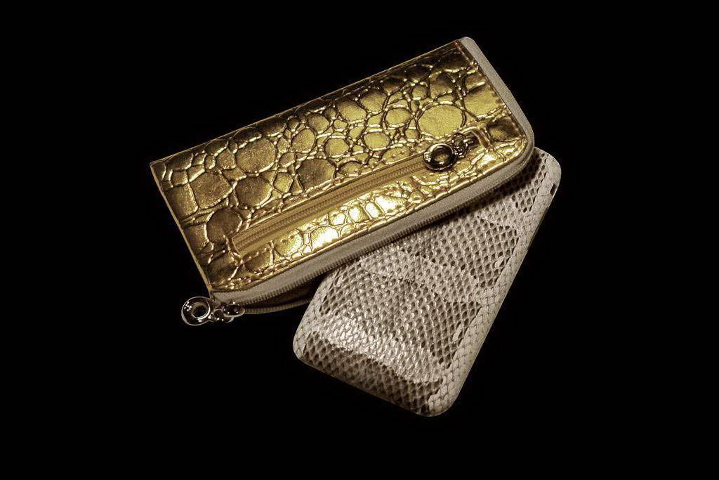 MJ Apple Silver iPhone Python Leather and Golden Mobile Phone Case from Genuine Crocodile Leather