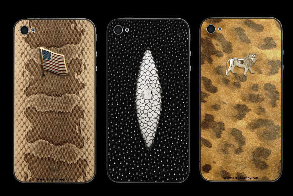 MJ Apple iPhone 4 Platinum Genuine Leather - Exotic Mix - Python Wild, Black Stingray, Fur Pony