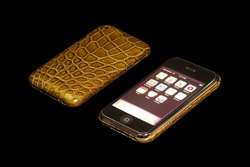 MJ Apple iPhone Gold VIP Leather Duo - Cayman Khaki