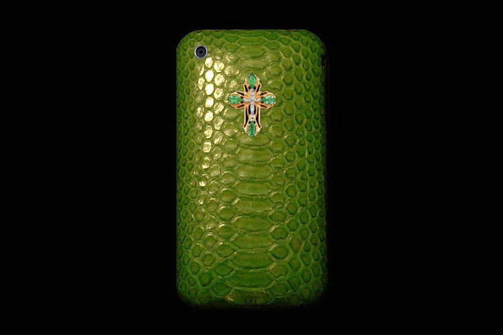 Apple iPhone Genuine Leather MJ Handmade - Python Green with Emerald Gems