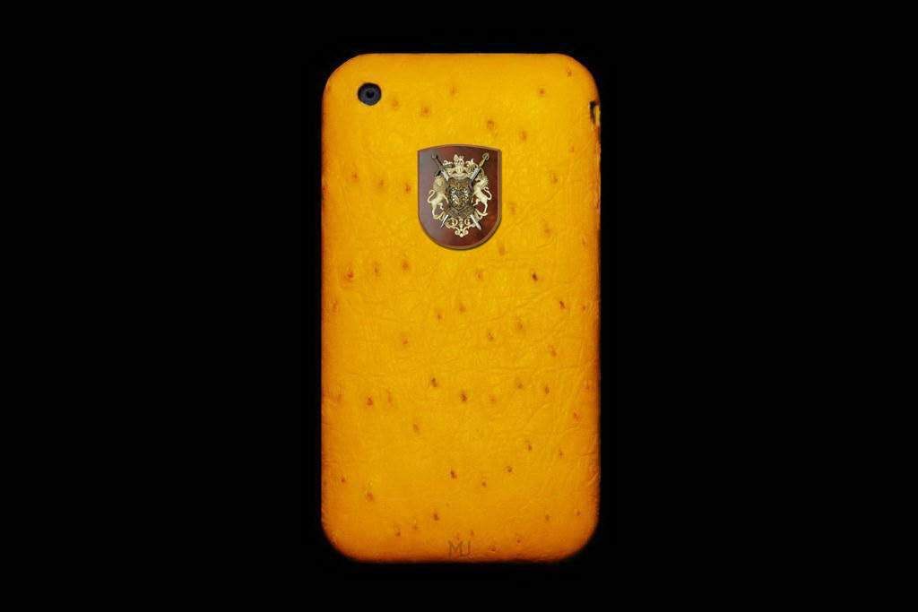 Apple iPhone Leather MJ Unique Phone - Ostrich Yellow Skin with Diamond Apple