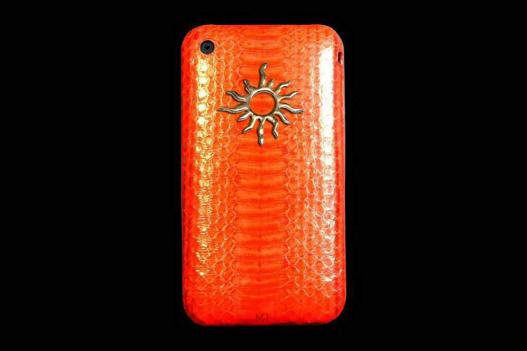 Apple iPhone Platinum Leather - Python Skin Red Orange inlaid Gold Apple 888