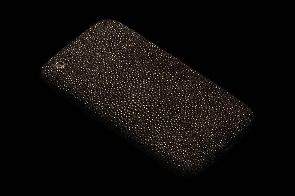 Apple iPhone Exotic Leather Unique VIP Phone - Black Stingray Skin